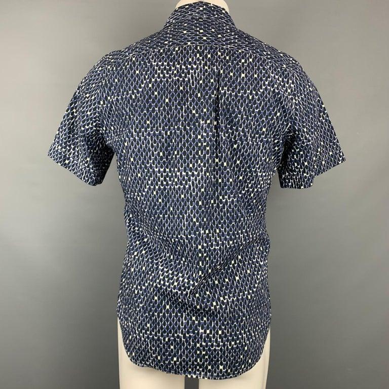 Black MARNI Size XS Navy & White Print Cotton Button Up Short Sleeve Shirt
