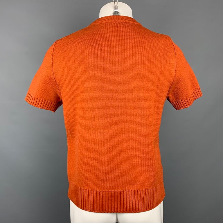 Red MARNI Size XS Orange Knitted Cotton Short Sleeve Pullover For Sale