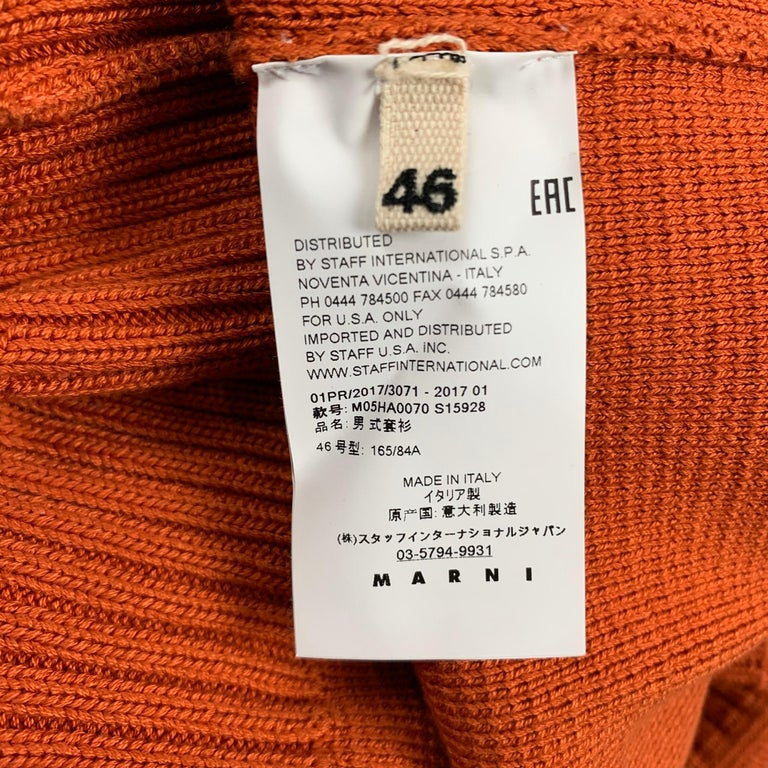 MARNI Size XS Orange Knitted Cotton Short Sleeve Pullover In Good Condition For Sale In San Francisco, CA