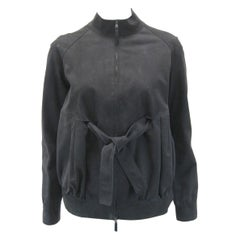 Marni Soft Black Gathered Suede Jacket with Inside Tie