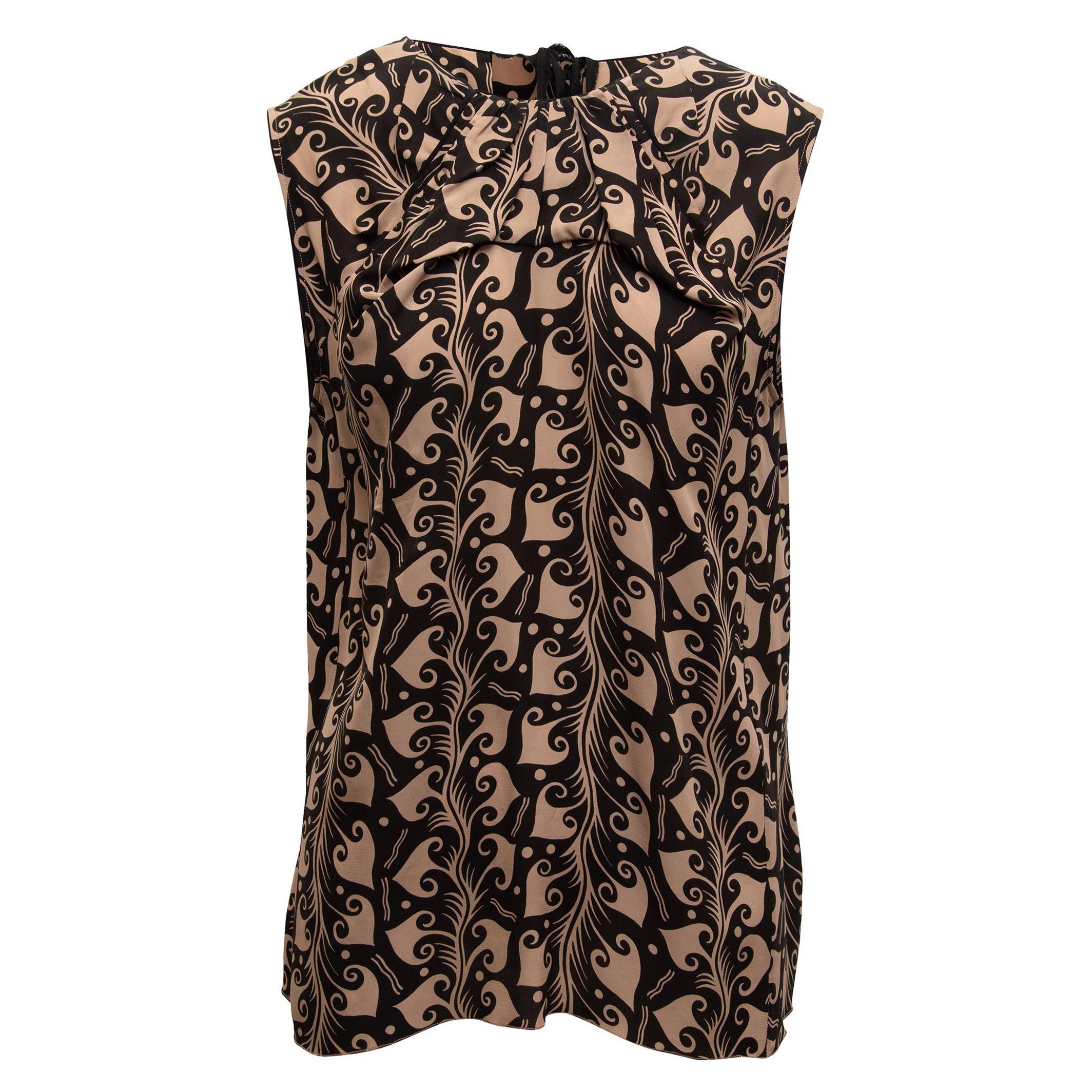 Marni Tan & Black Swirl Print Sleeveless Top