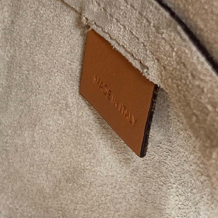 MARNI Tan Leather Blue Enamel Handle Mini PANNIER Bucket Handbag For Sale 5