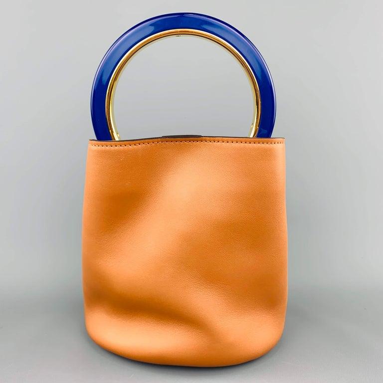 MARNI Tan Leather Blue Enamel Handle Mini PANNIER Bucket Handbag In Excellent Condition For Sale In San Francisco, CA