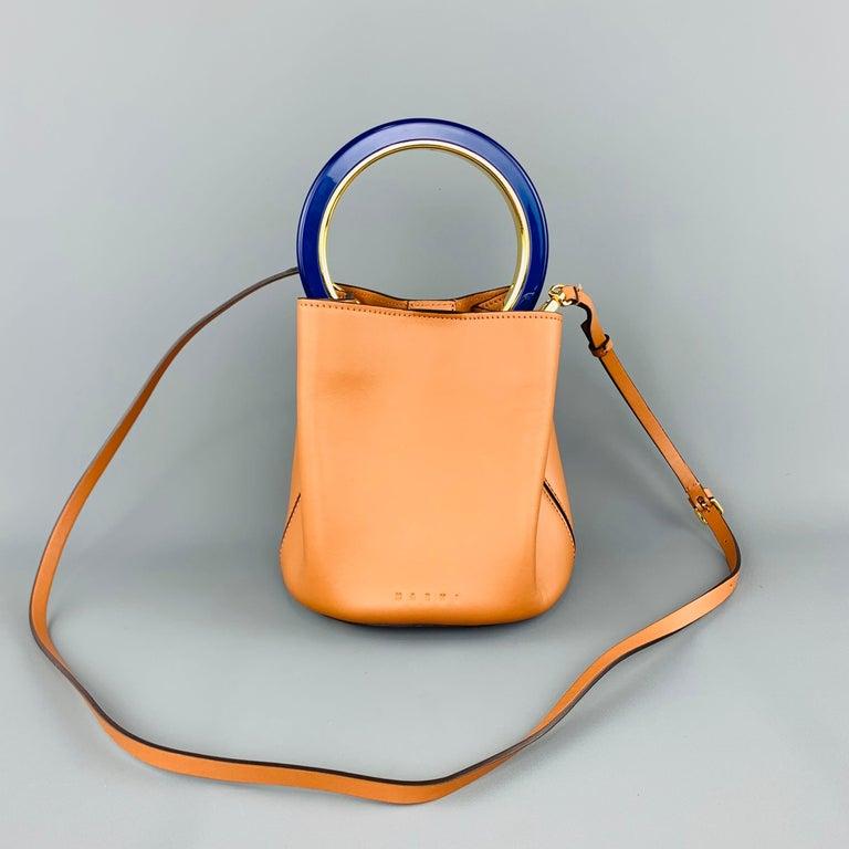 Women's MARNI Tan Leather Blue Enamel Handle Mini PANNIER Bucket Handbag For Sale