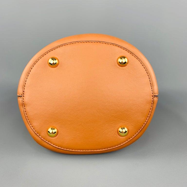 MARNI Tan Leather Blue Enamel Handle Mini PANNIER Bucket Handbag For Sale 2