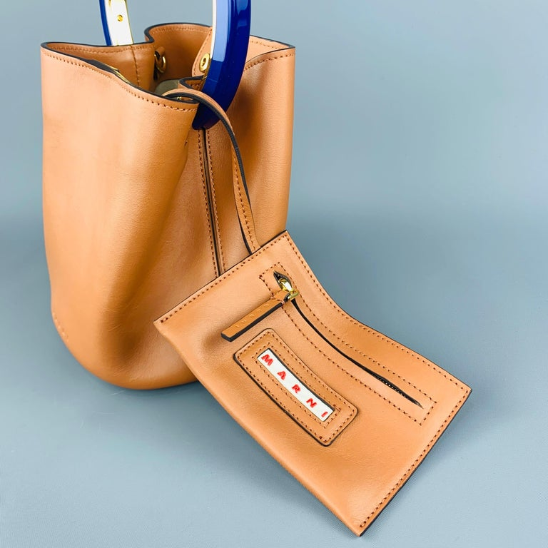 MARNI Tan Leather Blue Enamel Handle Mini PANNIER Bucket Handbag For Sale 3