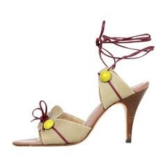 Marni Tan Sandal w/ Button Detail and Ankle Tie sz 38
