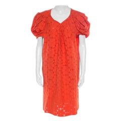 Marni Tangerine Floral Cotton Lace Shift Dress S