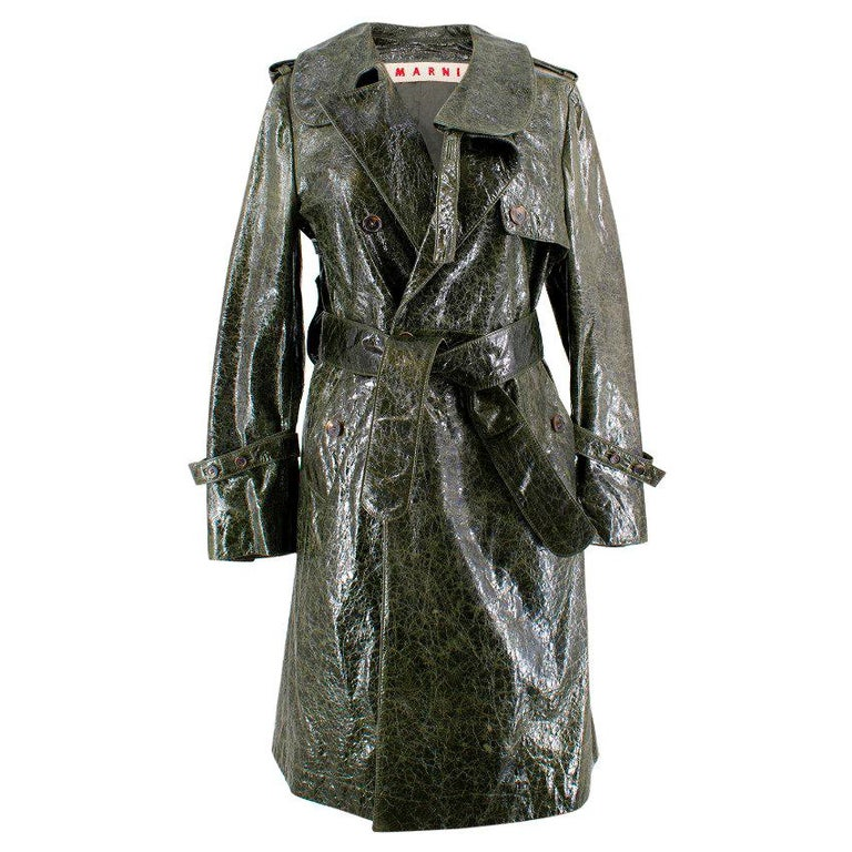 85b7fc8a326 Marni Textured Leather Trench Coat For Sale at 1stdibs