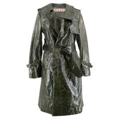 Marni Textured Leather Trench Coat SIZE IT 40