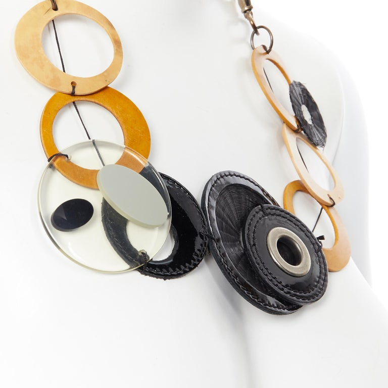 MARNI tribal black patent yellow wood linked statement necklace Brand: Marni Designer: Marni Model Name / Style: Statement necklace Material: Wood Color: Multicolour Pattern: Solid Closure: Lobster  Made in: Italy  CONDITION:  Condition: Very good,