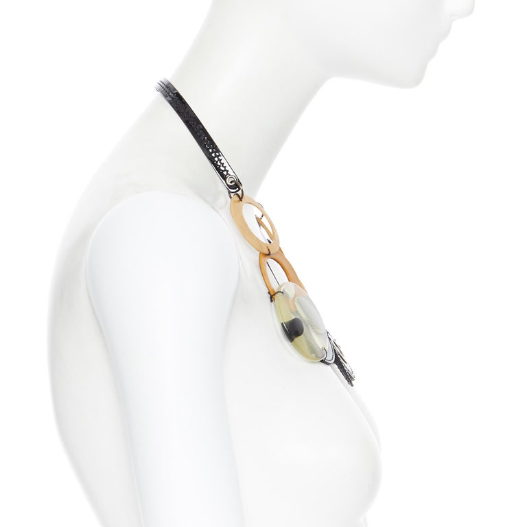 Women's MARNI tribal black patent yellow wood linked statement necklace For Sale
