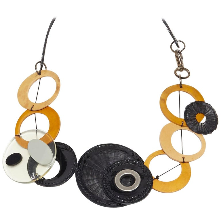 MARNI tribal black patent yellow wood linked statement necklace For Sale