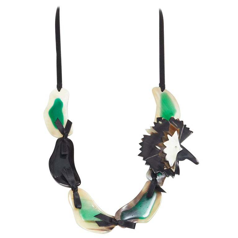 MARNI tribal green mixed resin ribbon tie detachable brooch statement necklace For Sale