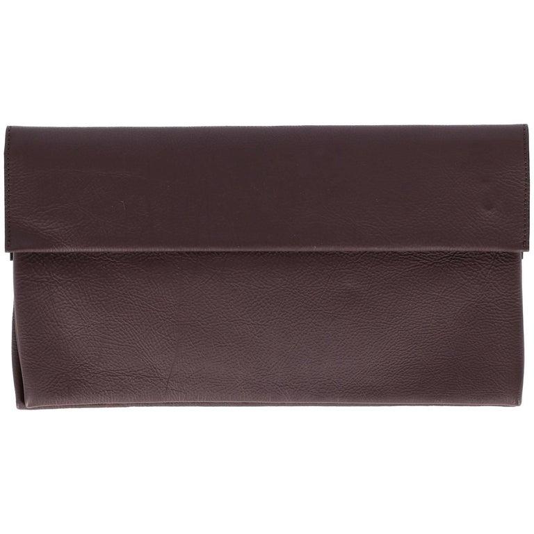 Black Marni Vintage Brown Leather Clutch, 2000s For Sale