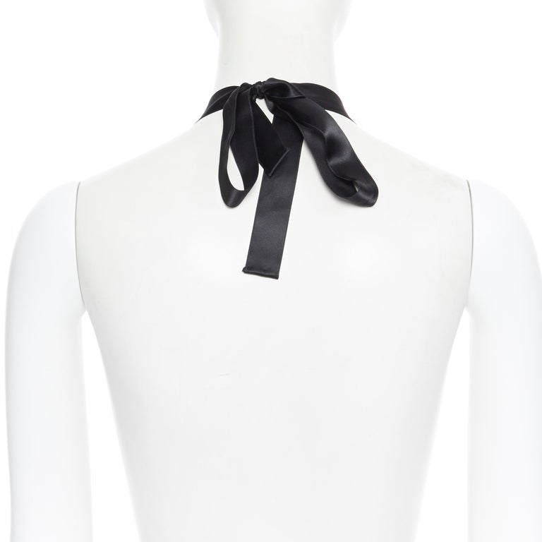 MARNI white bead floral jewel crystal embelished ribbon statement necklace For Sale 1