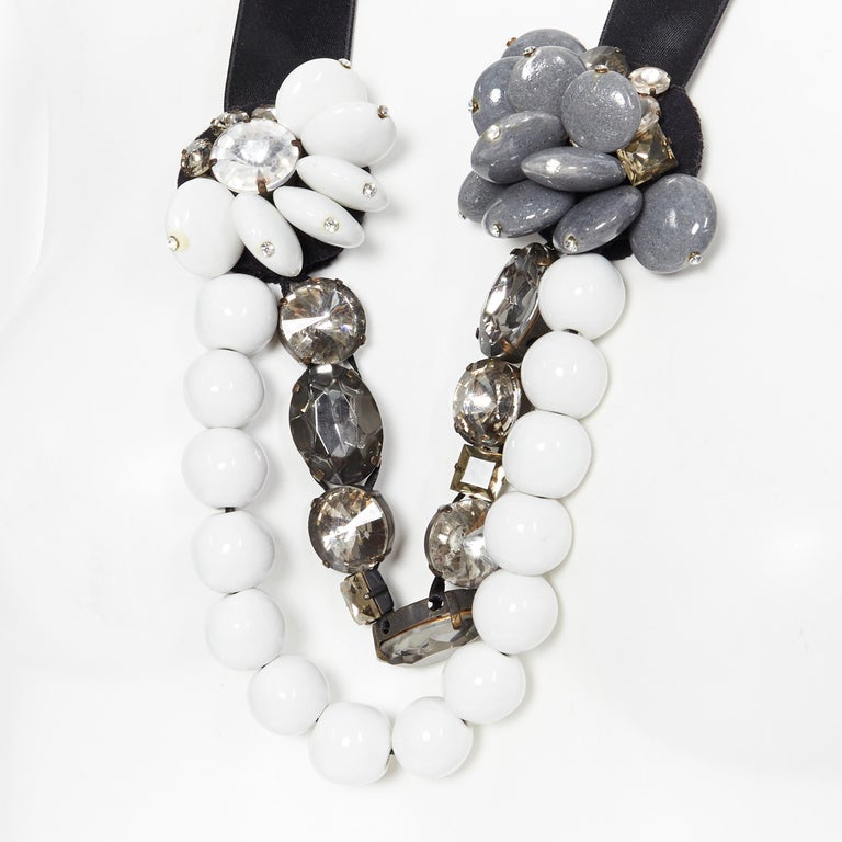 MARNI white bead floral jewel crystal embelished ribbon statement necklace For Sale 2
