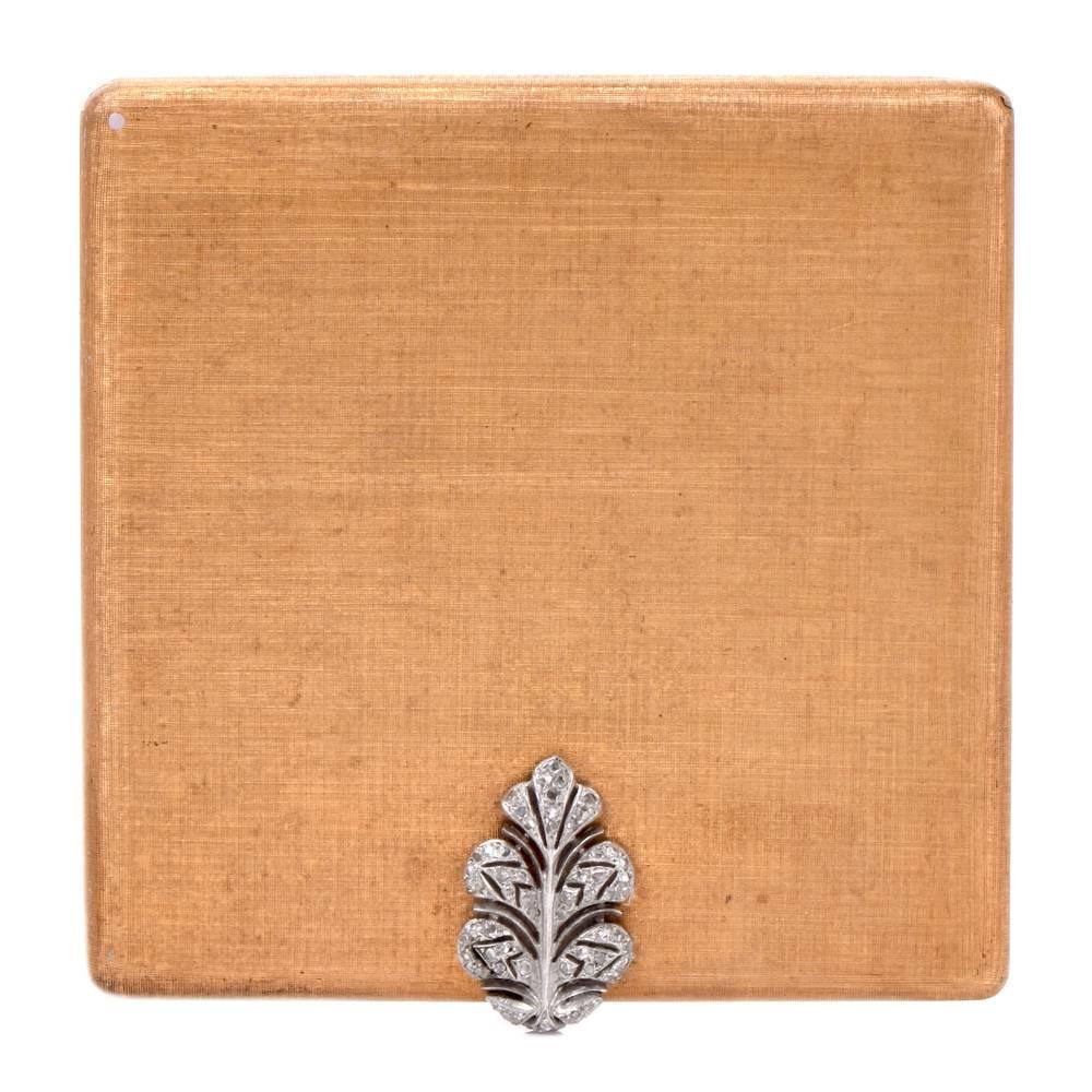 Mario Buccellati Vintage Diamond Gold Compact Box