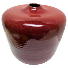 Maroon Glazed Ceramic Vessel Signed by Artist