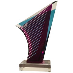 Maroon Wedge Lucite Sculpture by Shlomi Haziza