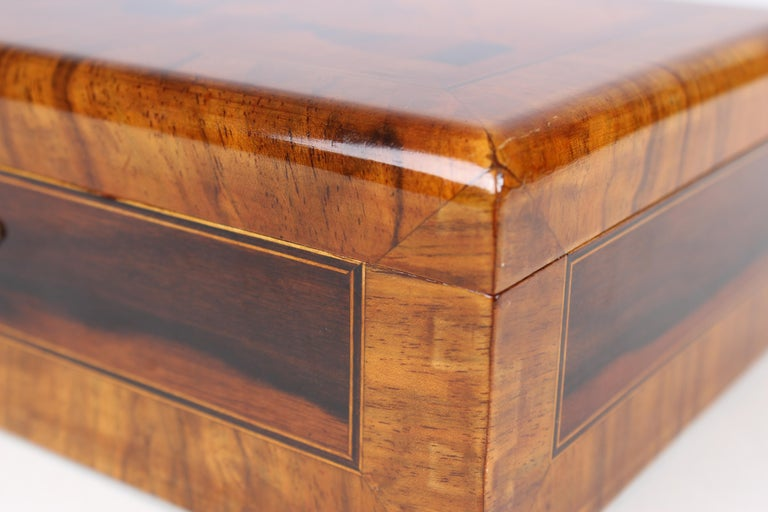 Marquetry Marquetried Box in Walnut and precious Woods For Sale