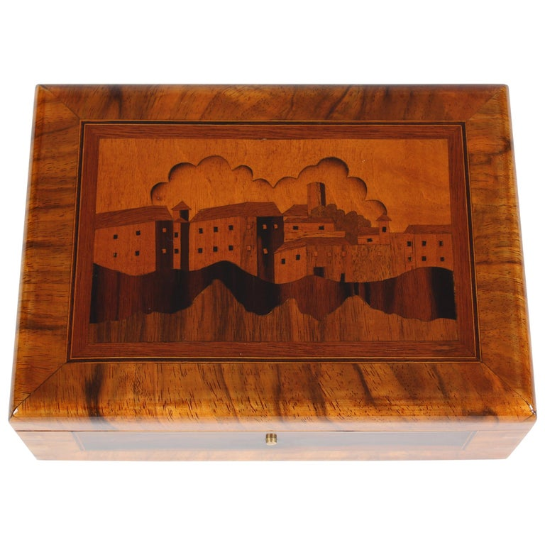 Marquetried Box in Walnut and precious Woods For Sale