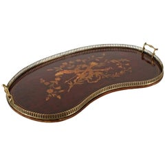 Marquetry Inlaid Kidney Shaped Tray, 19th Century
