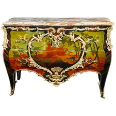 Marquetry Inlaid Louis XV Style Commode