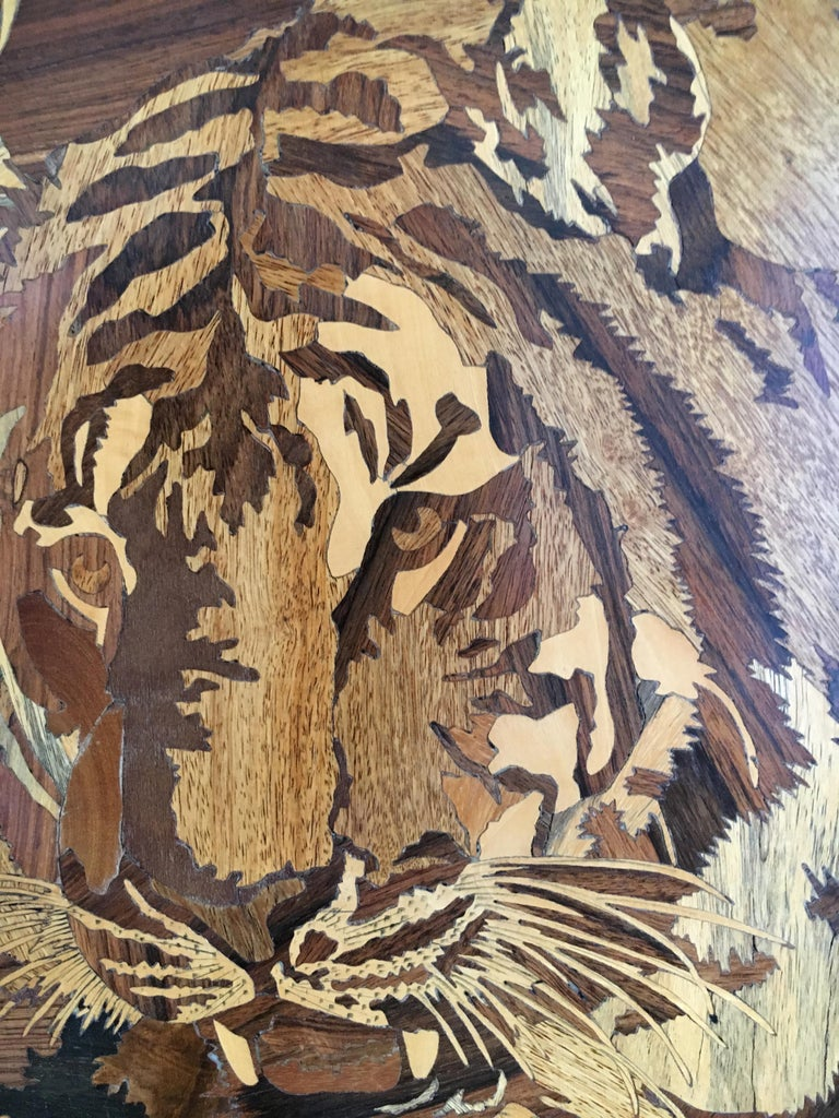Folk Art Marquetry Inlaid Wooden Wall Art of Tiger