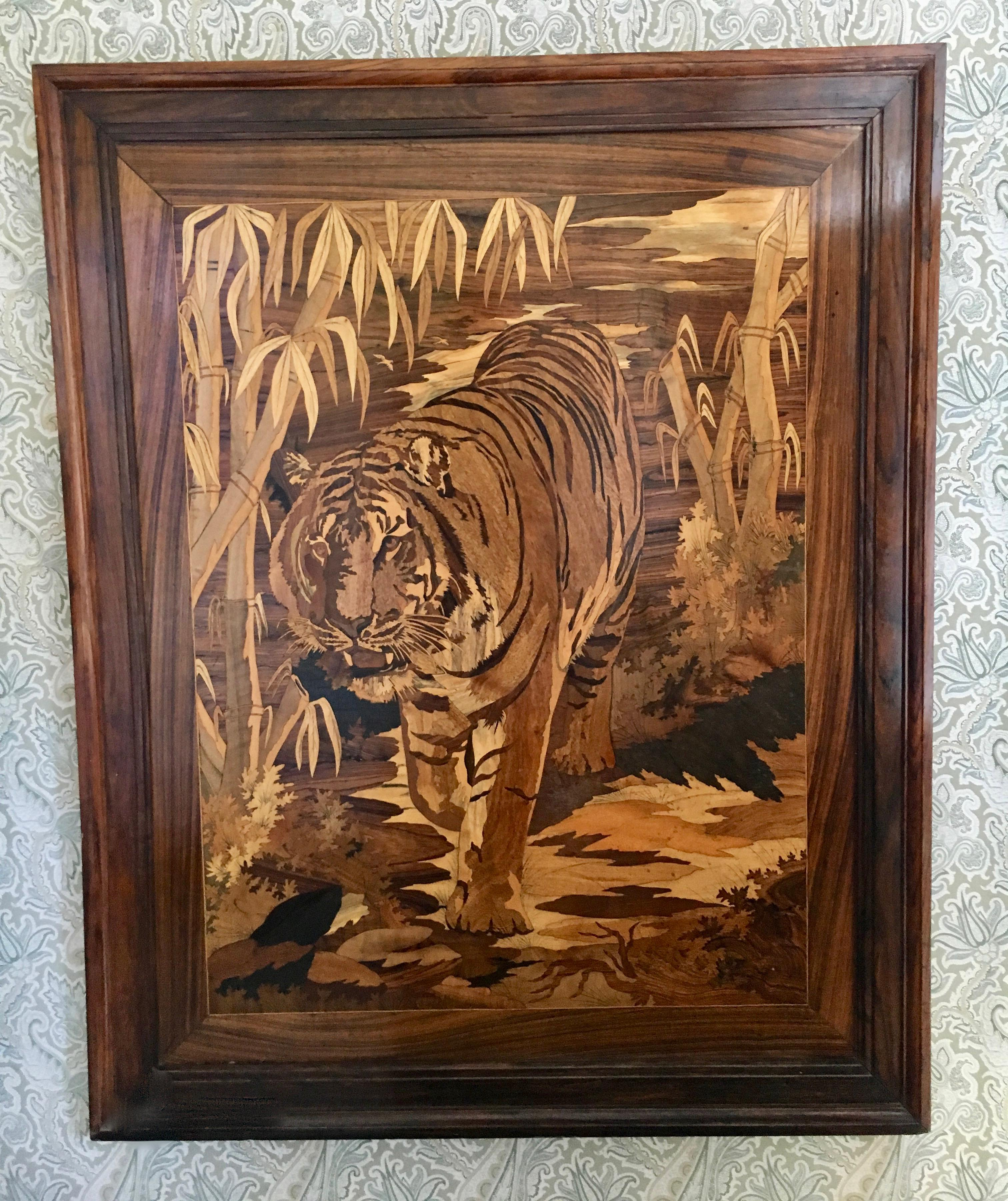 Marquetry Inlaid Wooden Wall Art Of Tiger