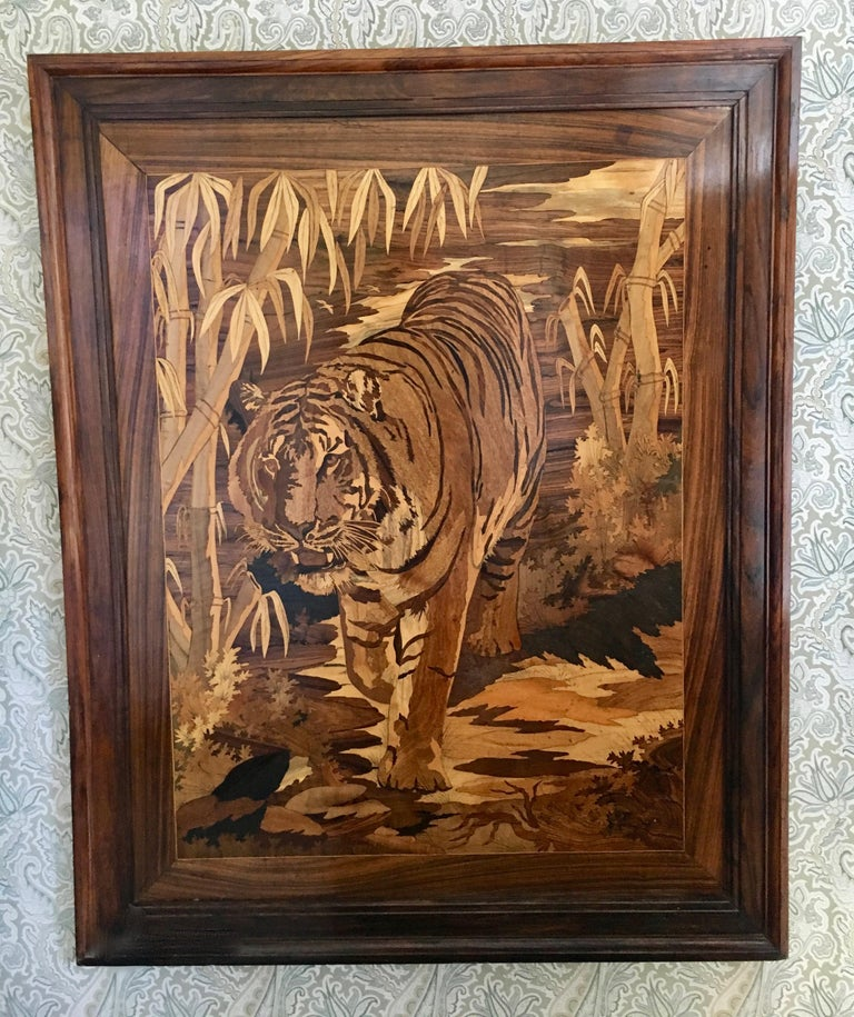 Inlay Marquetry Inlaid Wooden Wall Art of Tiger