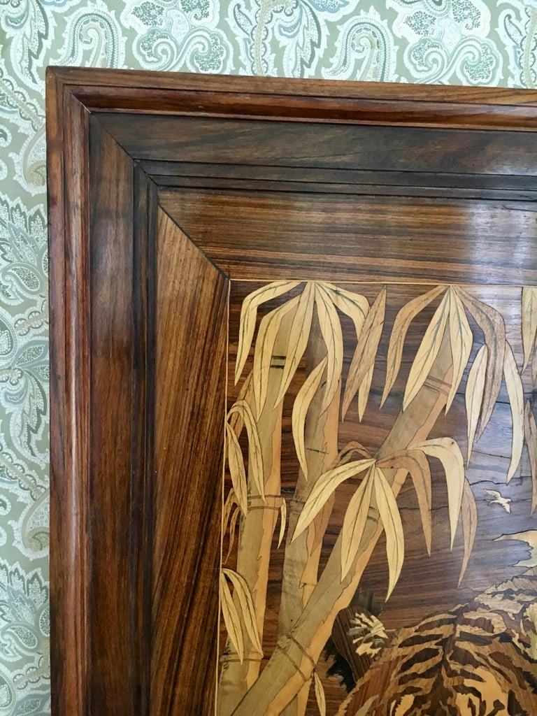 Marquetry Inlaid Wooden Wall Art of Tiger In Excellent Condition In Los Angeles, CA