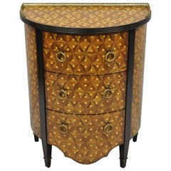 Marquetry Inlay Half Round Demilune Commode Chest by Monarch Century Furniture