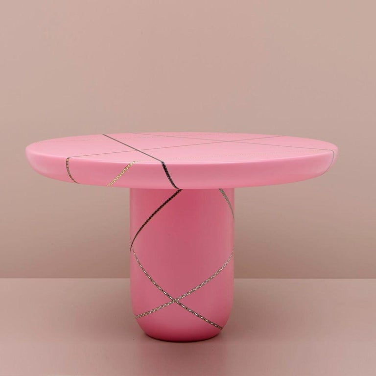 Lebanese Marquetry Mania Inlaid Occasional Table in Matte Pink For Sale