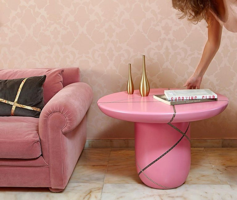 Contemporary Marquetry Mania Inlaid Occasional Table in Matte Pink For Sale