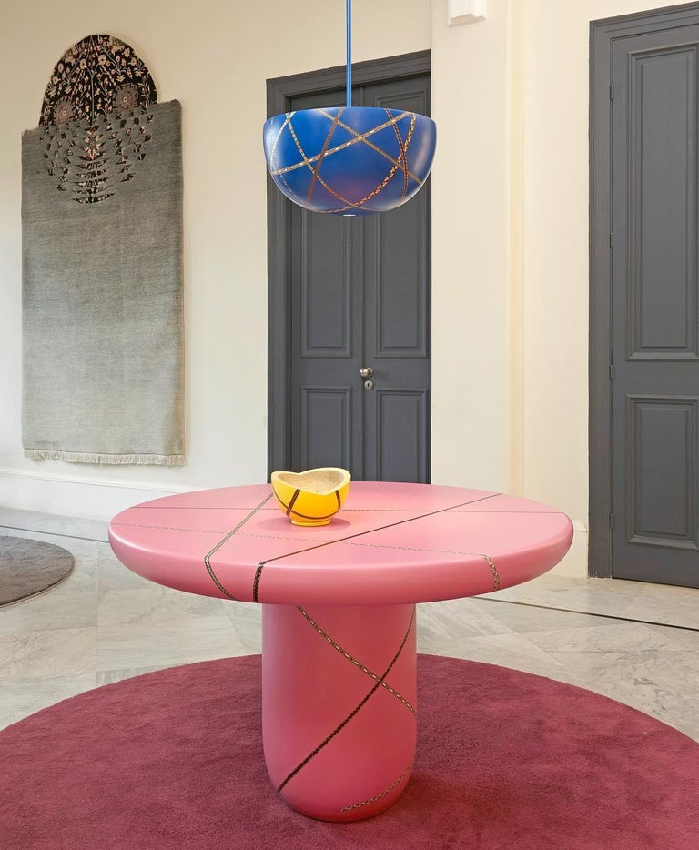 Wood Marquetry Mania Inlaid Occasional Table in Matte Pink For Sale