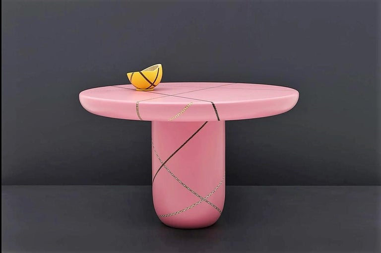 Marquetry Mania Inlaid Occasional Table in Matte Pink For Sale 1