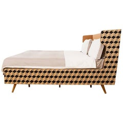 Marquetry Wood Veneer Cubic Dip Bed with Upholstered Headframe