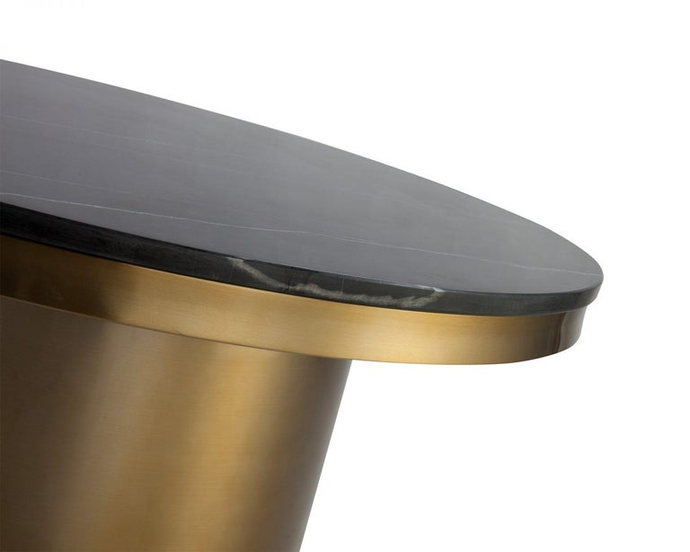 Modern Marquina Black Marble and Brass Coffee Table