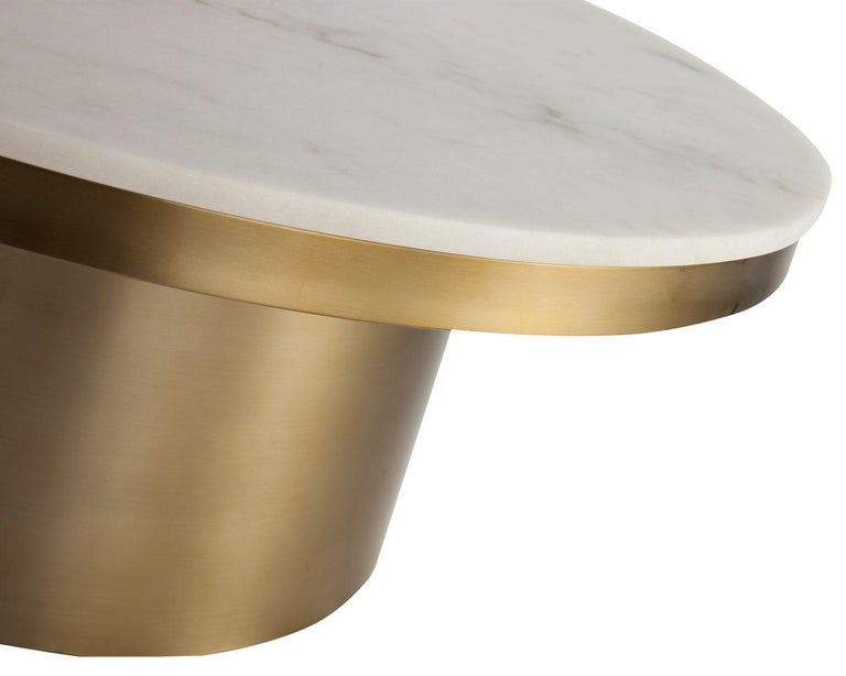 Marquina Black Marble and Brass Coffee Table 2