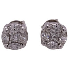 Marquis and Princess Cut Diamond Studs