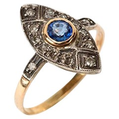 Marquis Ring with Sapphire and 12 Diamonds, circa 1920