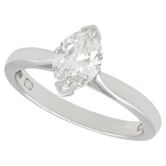 Marquise Diamond and Platinum Solitaire Engagement Ring