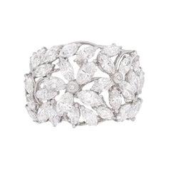 Marquise 3.55 Carat Diamond Cluster Ring, circa 1970s