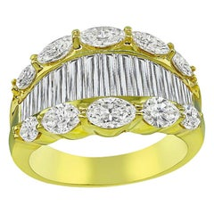 Marquise and Baguette Cut Diamond 18 Karat Yellow Gold Ring