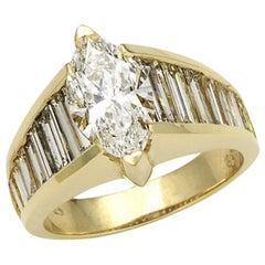 Marquise and Baguette Diamond Ring, 14 Karat Gold, Ben Dannie