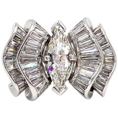 Marquise and Baguette Platinum Modern Diamond Ring