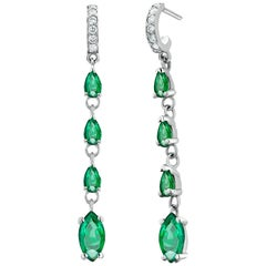 Marquise and Pear Shaped Emerald and Diamond White Gold Drop Hoop Earrings