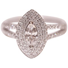 Marquise and Round Diamond Ring White Gold Engagement Right Hand Fashion Ring
