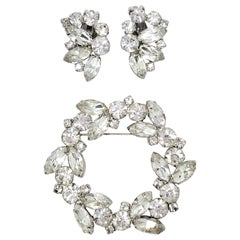 Marquise and Round Crystal Cluster Clip on Earrings and Pin in Silver, Vintage